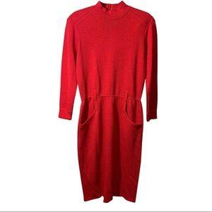 ST. JOHN RED WOOL SWEATER DRESS